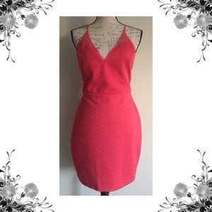 {Astr} Pink Textured Mesh Inset Mini Dress